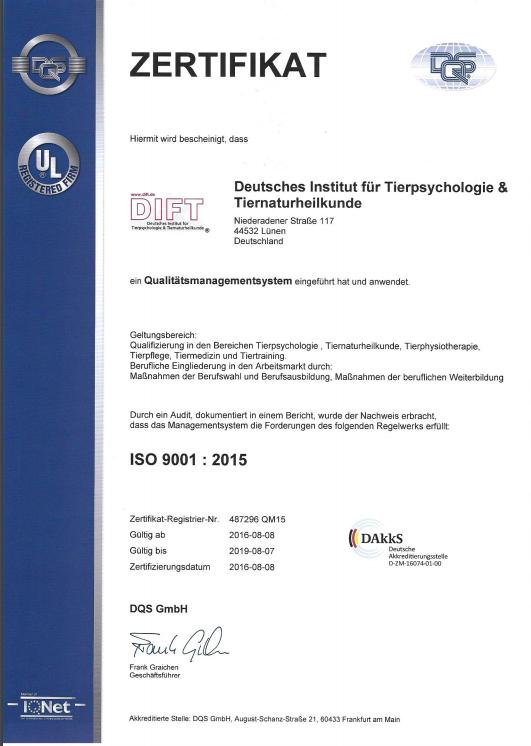 AZAV ISO 9001:2008 / Zulassung